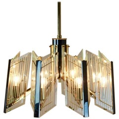Distinctive Brass Etched Glass Chandelier, France, 1960s