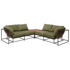 Vintage Military Canvas and Blackened Steel Four-Seat Sectional