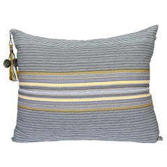 Handwoven Fine Cotton Throw Lg Pillow in Thin Grey Stripe with Tassel, in Stock