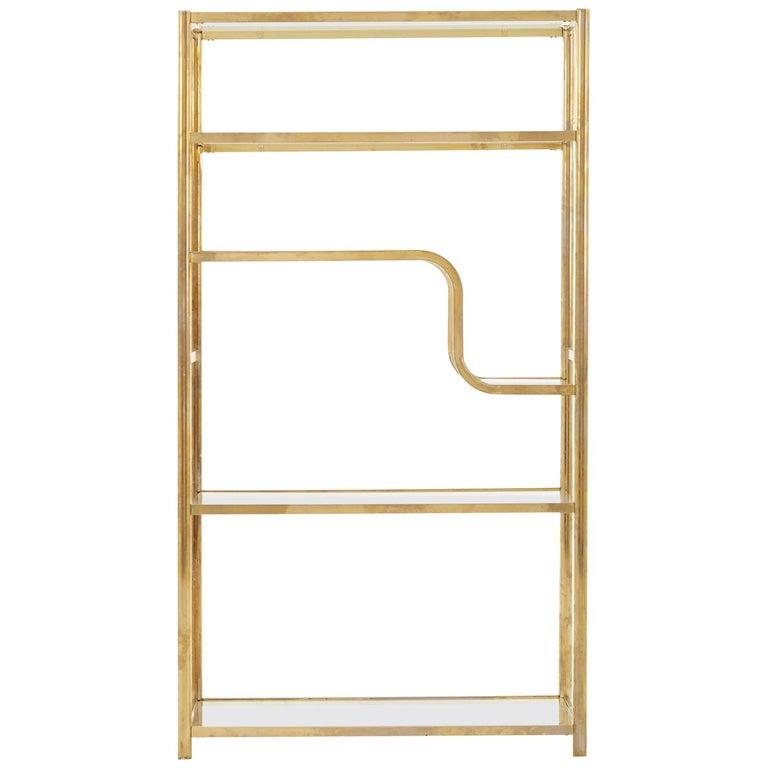 20th Century Brass Shelf with Original Glass Shelves