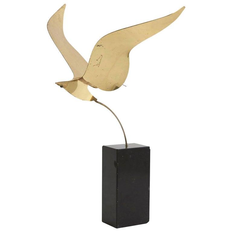 C. Jeré Brass Bird Sculpture on Black Marble Base