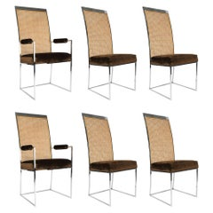 Six High Back Cane Dining Chairs by Milo Baughman for Thayer Coggin