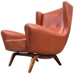 Wingback Leather and Rosewood Easy Chair by Illum Wikkelsø for Søren Wlladsen