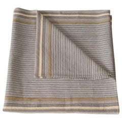 Handwoven Fine Cotton Throw in Thin Grey Stripe, in Stock
