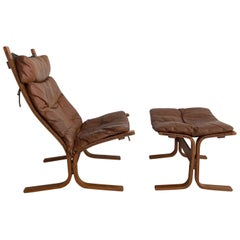 """1960s Ingmar Relling for Westnofa """"Siesta High"""" Lounge Chair and Ottoman"""