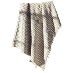 One of a Kind Handwoven Wool Throw in Grey & Natural Check, in Stock