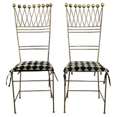 Pair of Gilt Iron Chairs Crown or Harlequin Style Ball Finials Art Deco