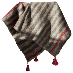 One of a Kind Handwoven Wool Throw in Dark Grey with Red Tassels, in Stock