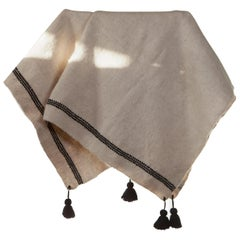 One of a Kind Handwoven Wool Throw in Natural with Black Tassels, in Stock
