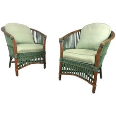 Pair of Art Deco Split Reed Stick Wicker Lounge Chairs