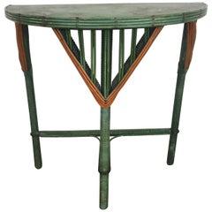 Art Deco Split Reed Stick Wicker Demilune Occasional Table
