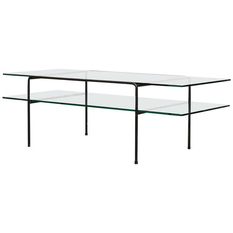 Rare A.R. Cordemeyer Glass and Metal Coffee Table for Gispen For Sale