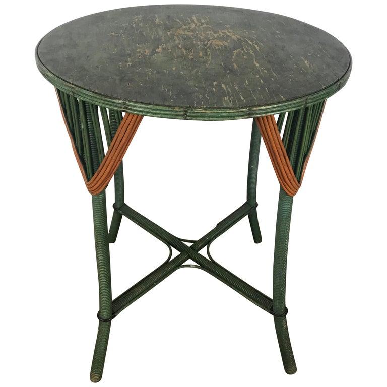Art Deco Split Reed Stick Wicker Lamp Table