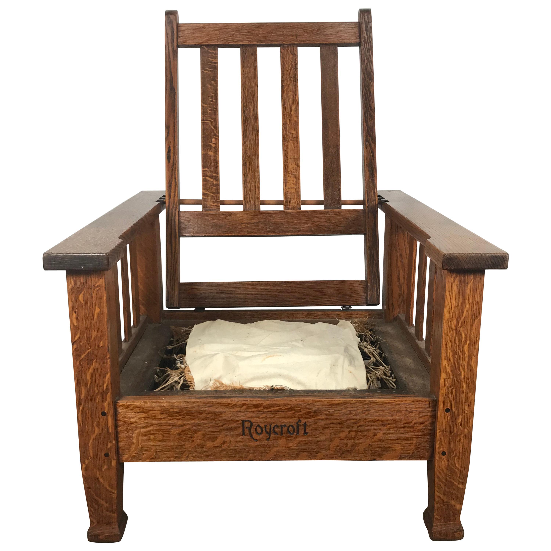 Antique Arts U0026 Crafts Large Morris Chair By Roycroft For Sale