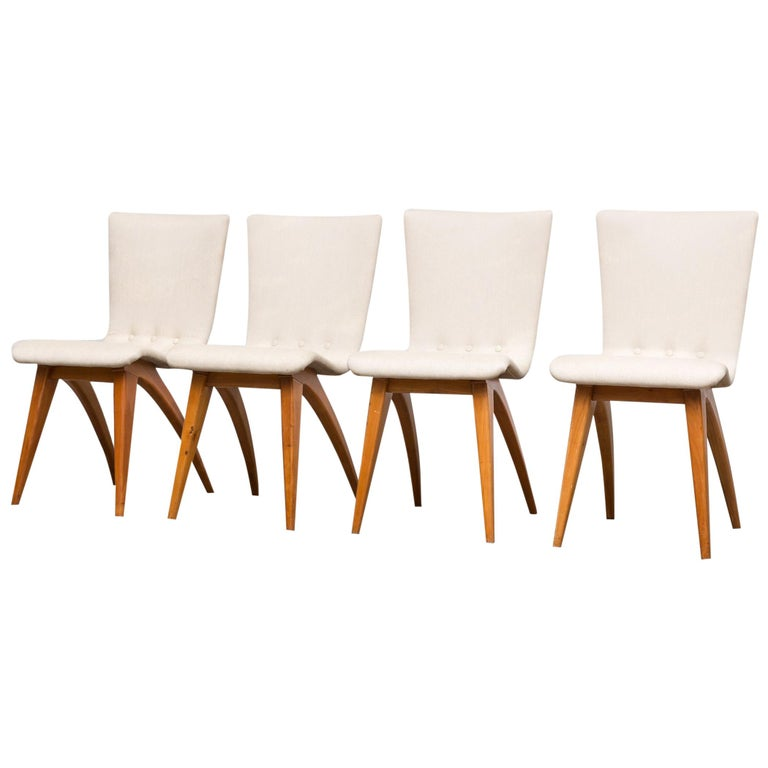Set of Four Van Os Dining Chairs in White For Sale
