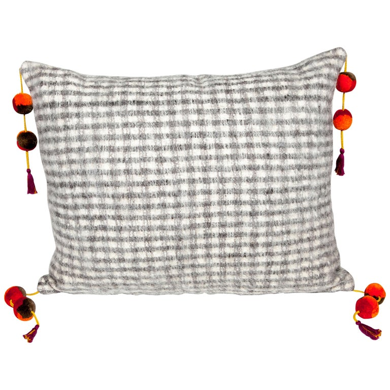 Handwoven wool throw pillow in checkered pattern, 2018