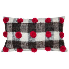 Handwoven Wool Throw Pillow with Pom Poms and Black & White Pattern, in Stock