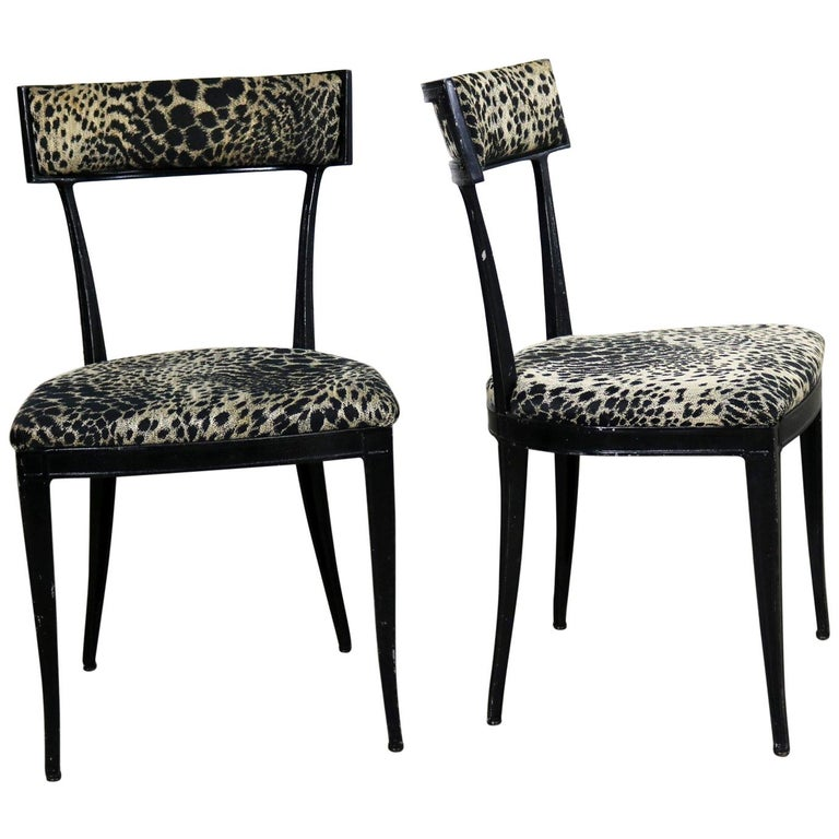 Black Art Deco Animal Print Side Chairs Cast Aluminium Crucible Products Pair For