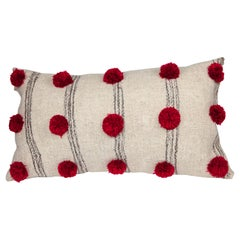 Handwoven Wool Throw Pillow in White with Cochineal Pom Poms, in Stock