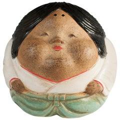 Taisho Period Shigaraki Okame Hand Warmer, Japan