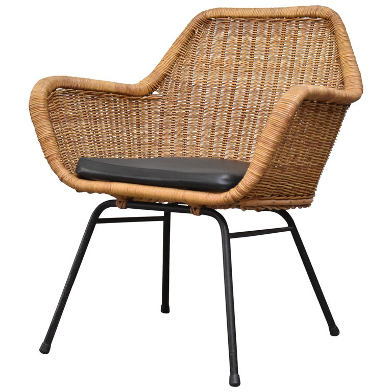 Jaques Adnet Style Midcentury Rattan Bucket Chair For Sale
