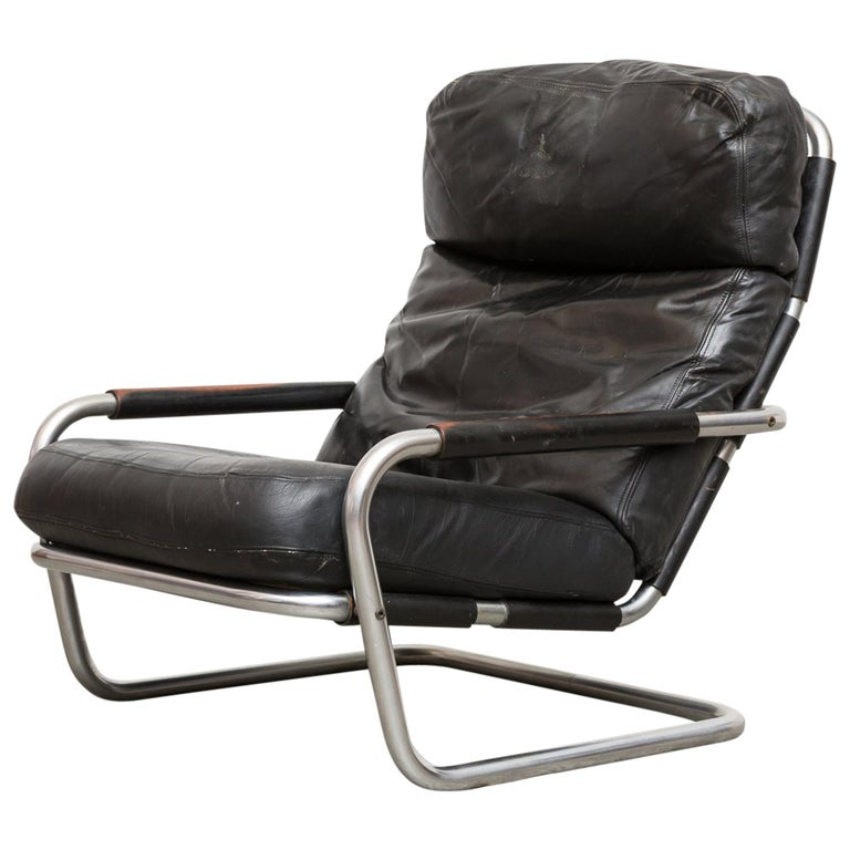 "Jan des Bouvrie Leather Lounge S""601"" Chair for Gelderland For Sale"