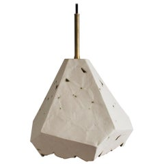 Relic Extra Large Geometric White Porcelain and Brass Modern Pendant Lamp