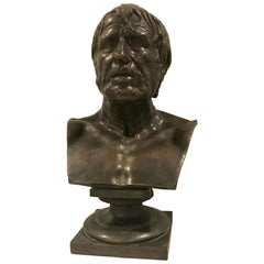 Grand Tour Bronze Portrait Bust of Seneca