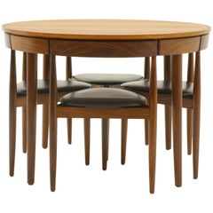 Round Teak Dining Set by Hans Olsen for Frem Rojle, Denmark, Table, Four Chairs