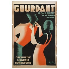 Original Vintage French Art Deco Poster, 'Gourdant' by D Frapojut, Paris, 1933