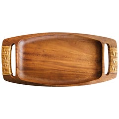 Cane Wrapped Wood Tray or Catch All