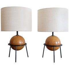 California Modern Iron and Wood Lamps by Albert Blake, 1951