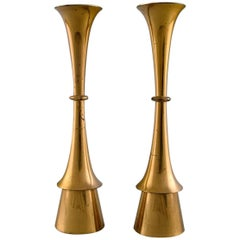 Jens Quistgaard Style of Danish Design, 1960s a Pair of Candlesticks in Brass