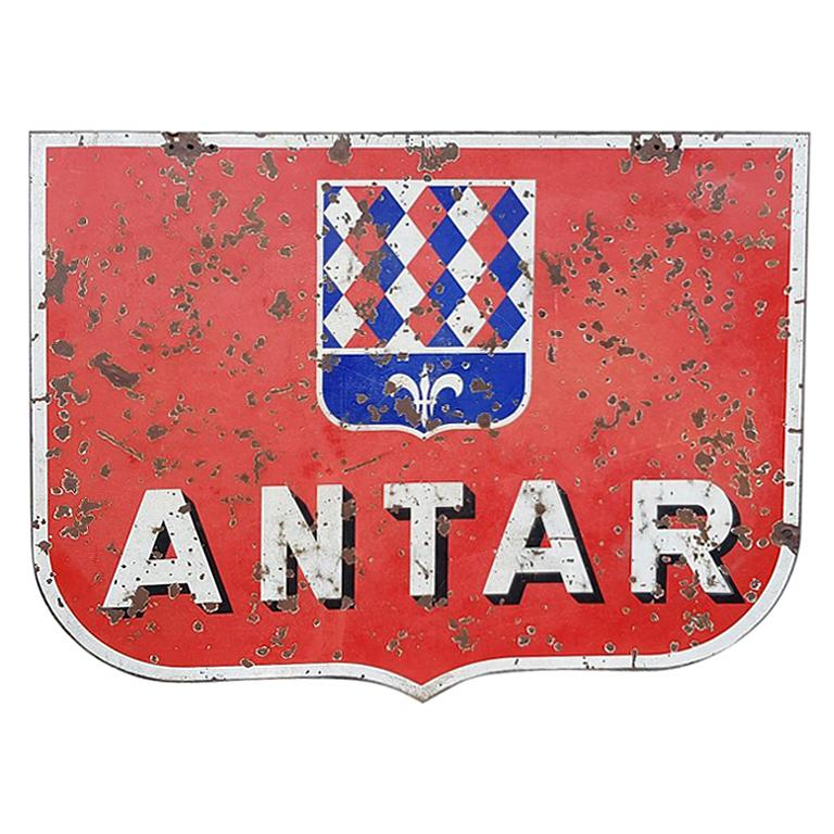 Mid-20th Century Large French Double-Sided Enamel Antar Oil Sign