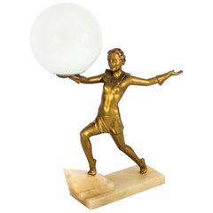 1920s Art Deco Gilded Dancing Lady Lamp