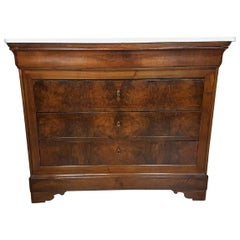 19th Century Italian Walnut Commode Chest of Drawers with Marble Top