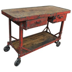 French Factory Industriel Riveted Iron Trolley Work Console Table, 1940s