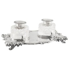 Antique English Silver Inkstand Cut-Glass Wells J Dixon 1899, 19th Century
