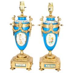 Antique Pair of Large French Bleu Celeste Sevres Vases Lamps 19th Century