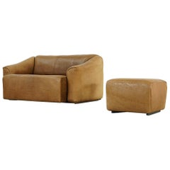 Rustic Two-Seat Sofa and Ottoman Ds 47 by De Sede, 1960s