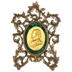 French Framed Ormolu & Malachite Portrait Plaque Francis Drake, 19th Century