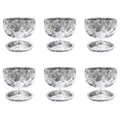 Set of Six Vintage Cut Glass Crystal Sundae Dishes