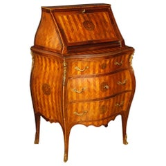 Italian Bureau in Inlaid Wood with Gilt Bronzes from 20th Century