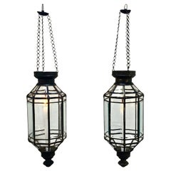 Large Hanging Candle Lamps in Brass and Beveled Glass