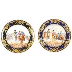 Pair of Porcelain Cabinet Plates of Napoleon Signed Edouard Garnier 19th Century