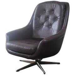 1970s Danish Midcentury Leather Swivel Armchair
