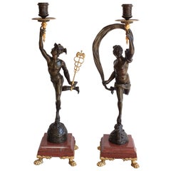 19th Century Pair of Bronze Candelabra