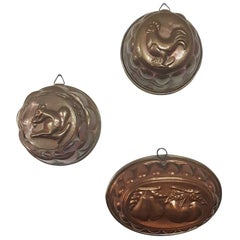 Three Early 20th Century, French Copper Cake Molds