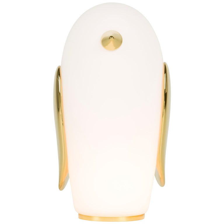 Moooi Noot Noot Table Lamp in White Opal Glass and Gold Painted Ceramic
