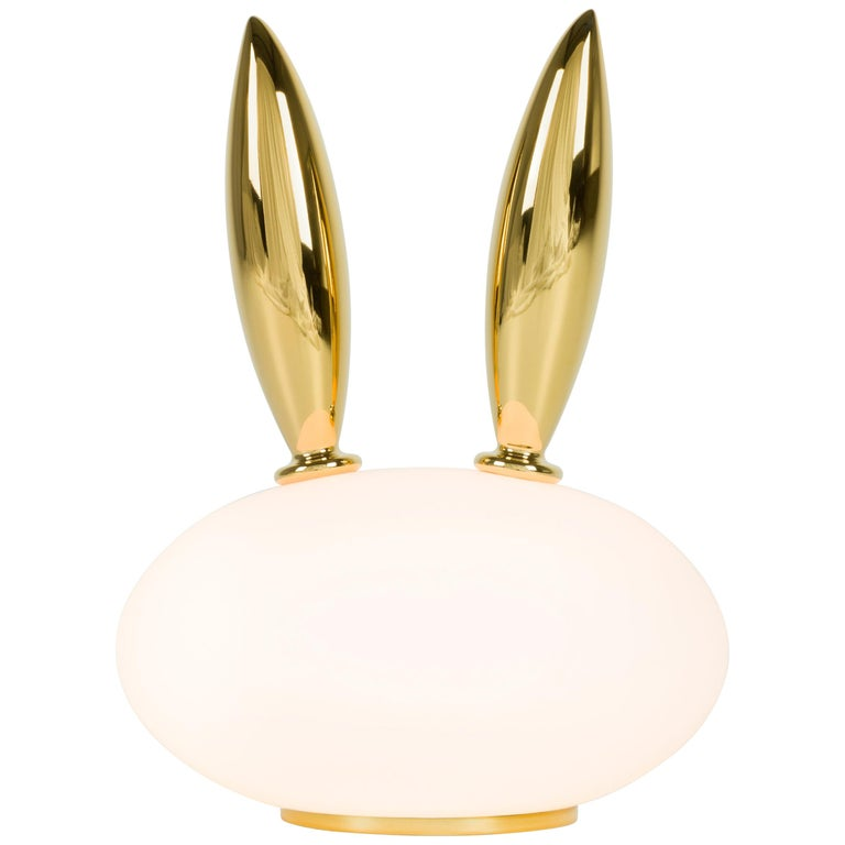 Moooi Purr Table Lamp in White Opal Glass and Gold Painted Ceramic For Sale
